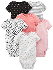 Six short-sleeve bodysuits in baby-soft cotton featuring patterns, appliques, and stripes Four bodysuits feature expandable necklines with scalloped picot trim Two bodysuits feature back-snap necklines with scalloped picot trim Nickel-free snaps on r...
