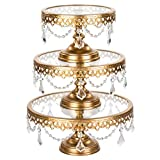 Amalfi Decor Cake Stand with Glass Tops, Round Metal Pedestal Holder with Crystals, Gold, Set of 3