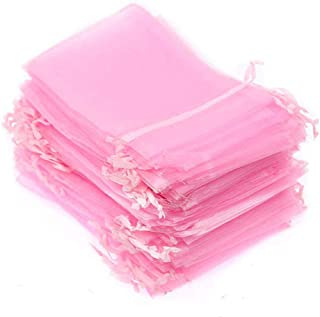 Pink Jewelry Bags Drawstring, 100 Set Pink Organza Bags 4x6 inches, Sheer Small Gift Bags, Organza Jewelry Pouches, for Jewelry, Cosmic Business, Baby Shower Party Favor Bags (Light Pink)