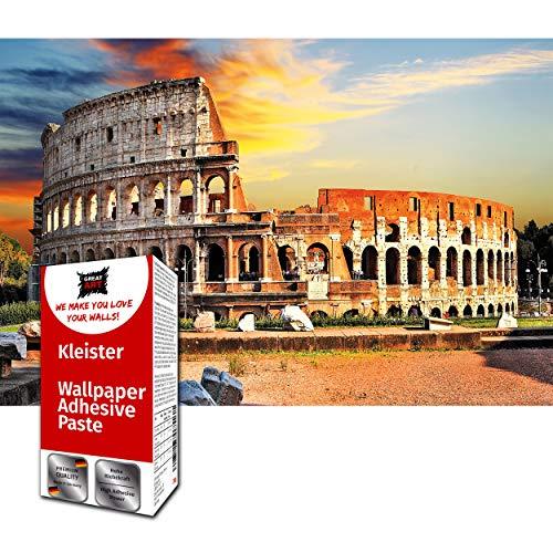 GREAT ART Wanddekoration Kollosseum Rom 210 x 140 cm – Italien Monument Bauwerke Fototapete Architektur Europa Kunst Kultur Römer Kindertapete – 5 Teile Tapete inklusive Kleister