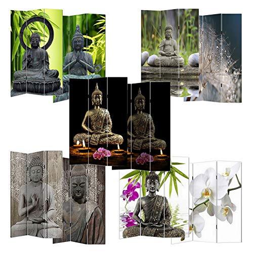 HTI-Line Paravent Buddha Sichtschutz Spanische Wand Raumteiler Buddha mit LED
