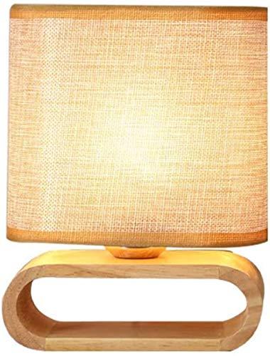 Wodtree Tischlampe übersichtliche Design Nachtleuchte mit Stoffschirm Schlafzimmer Arbeitszimmer Dekoration Lesetischleuchte E27