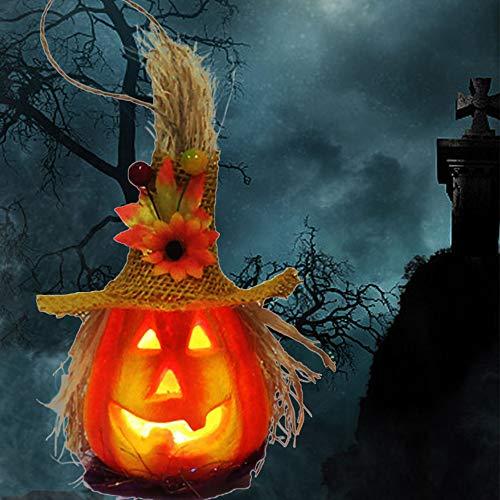Relax love Halloween Kürbis Laterne Halloween Kürbis Windlicht LED,Hohl leuchtende Kürbis Lichtleiste Atmosphäre Dekoration,Halloween Dekoration herbstdeko kürbis für Innen und Außen (Gelb)