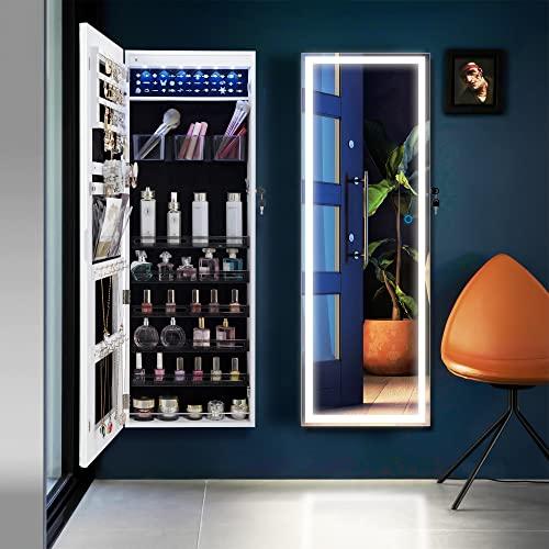 Vlsrka Wandmontierter Schmuckkabinett mit voller Länge LED Beleuchteter Spiegel, über der Tür Hängenden Schmuck Armoire, Smart Touch Screen Spiegel Schmuck Organizer, 3 Farben Dimmlicht (Weiß)