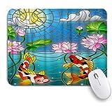 PATINISAマウスパッド 水墨画鯉鯉魚蓮モザイク ゲーミング オフィス最適 高級感 おしゃれ 防水 耐久性が良い 滑り止めゴム底 ゲーミングなど適用 マウス 用ノートブックコンピュータマウスマット