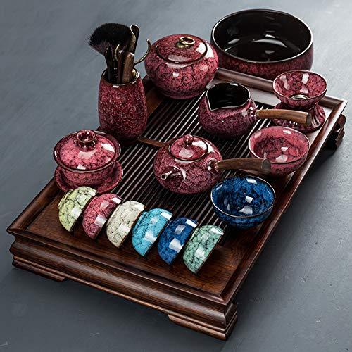 Kung Fu Tee Set Set Home Einfacher Ofen Keramik Seitengriff Teekanne 6 Farben Teetasse Deckel Schüssel Büro Tee Tablett Seitengriff-Topfsatz B