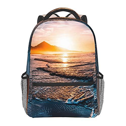 Brillante Halloween impresión mochila impresión portátil impermeable antirrobo mochila casual mochila bolsa USB puerto de carga mochila unisex, Puesta de sol en la playa, Taille unique