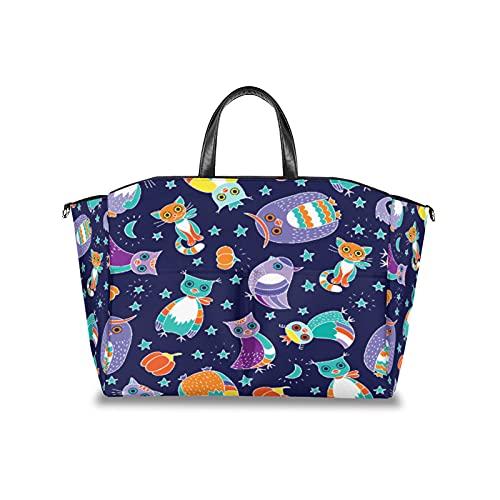 Bolsa para pañales con diseño de búho étnico, gato, estrella de calabaza, multifuncional, organizador impermeable para cochecito de bebé, bolsas de viaje para pañales con correa de velcro ajustable