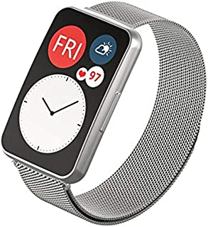 Dado Replacement Milanese Band compatible with Huawei Fit Watch, stainless steel strap (Silver)