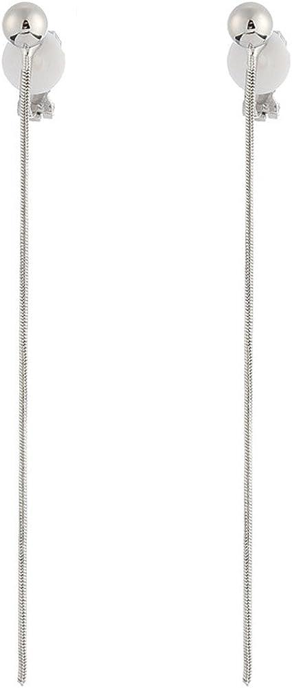 Simple Long Tassel Clip on Dangle Earring Clips for non Pierced Fashion Jewelry for Women