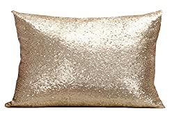 Champagne Multi-Size Sequin Throw Pillow Cover Sham Case
