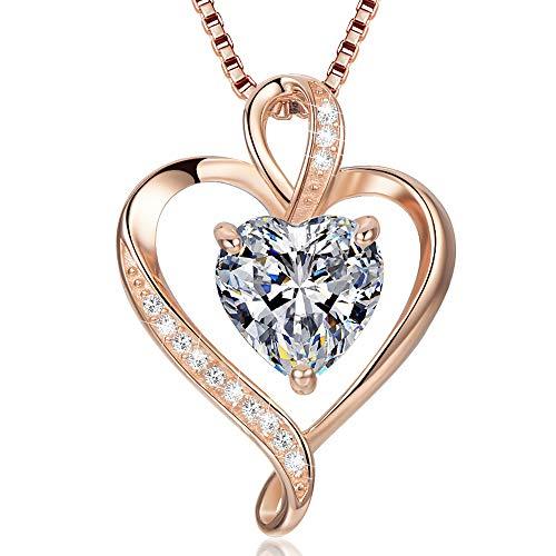 Herzkette 925 Silber Rosegold Damen Halskette - Herz Silber änhänger Kette Damen Geschenk für Frau Frauen MaMa Freundin mit Geschenk-Box 45cm Verstellbar Ketten (Rosé gold)
