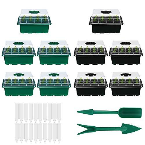10 Piezas Bandeja Semillas, 12 Agujeros Mini Invernadero Bandejas de Cultivo con Agujero en Crecimiento Semilleros de Germinación con Bandeja de Plántulas de Domo de Humedad Ajustable