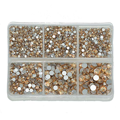 Queenme Upgrade 4200 Pieces Nail Crystals Flatback Nail Art Rhinestones Round, Golden Shadow Glass Gems Charms Stones Mix 6 Sizes, for Nails Decoration Makeup Clothes Shoes SS6 8 10 12 16 20