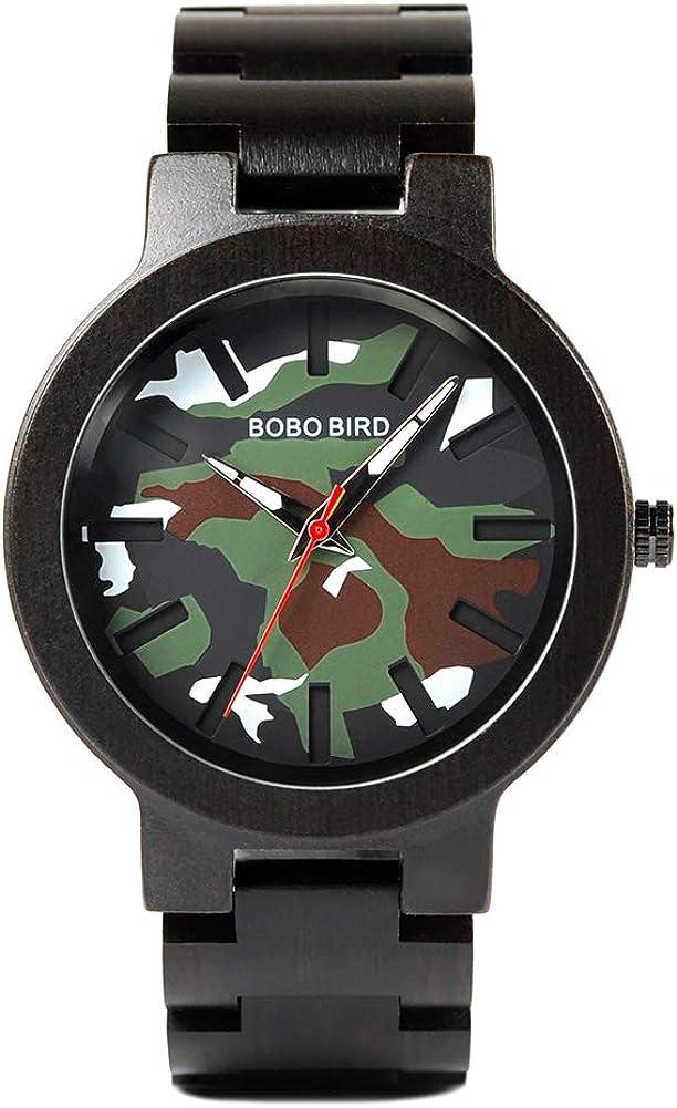 Free shipping Mens Watch Max 68% OFF Wooden Camouflage Analog Lightweight Wat Quartz Ebony