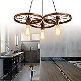 Lampadario a sospensione industriale a 3 luci, E27, in metallo, con ruote, per loft, ristorante, bar