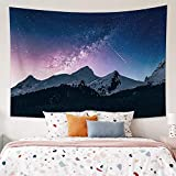 Musemailer Starry Night Tapestry 39.4x27.6inch Mountains and Trees under Starlight Tapestry Wall Hanging Shooting Star Psychedelic Starry Sky Tapestry Wall Decor for Living Room Bedroom Dorm Room
