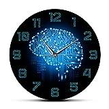 Código Binario Arte Inteligencia Cerebro Reloj de Pared Mudo Movimiento Reloj de Pared Empresa Oficina decoración Cerebro Placa de Circuito Arte Geek 30x30cm