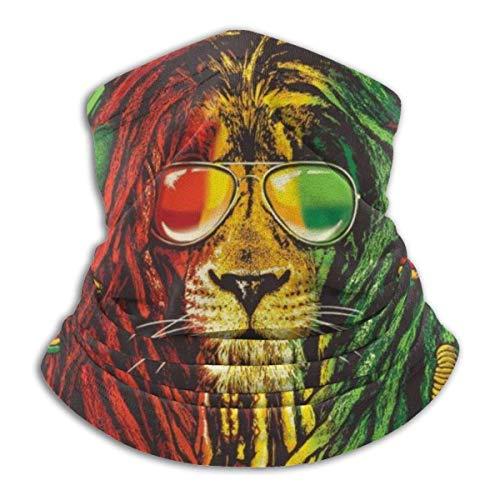 Hengtaichang Rasta Vibe Lion con Gafas de Sol Unisex Fleece Cuello Calentador A Prueba de Viento Invierno Cuello Polaina Clima frío Cubierta Facial para Hombres Mujeres