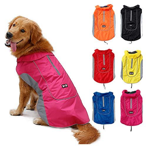 TFENG Reflektierend Hundejacke für Hunde, Wasserdicht Hundemantel Warm gepolstert Puffer Weste Welpen Regenmantel mit Fleece (Größe L, Rosa)
