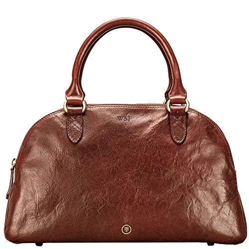 Maxwell-Scott Personalisierte Hochwertige Damen Leder Bowling Bag Handtasche LilianaS in Cognac Braun