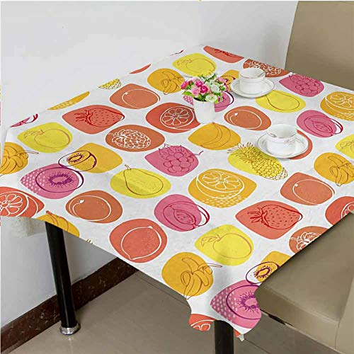 dsdsgog Table Cover for Kitchen Retro Pineapple Lemon Kiwi Raspberry Pop Art Modern Food Icons Caricature Graphic,54x54 inch Food Square Tablecloth