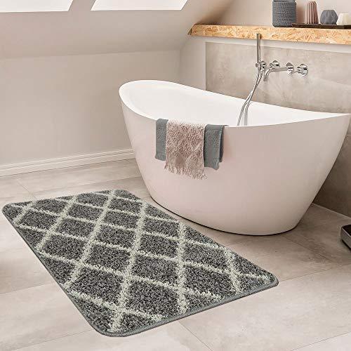 Moderne Badmat Met Ruitdesign Hoogpolig Badkamervloerkleed In Grijs/Wit, Maat:40x55 cm