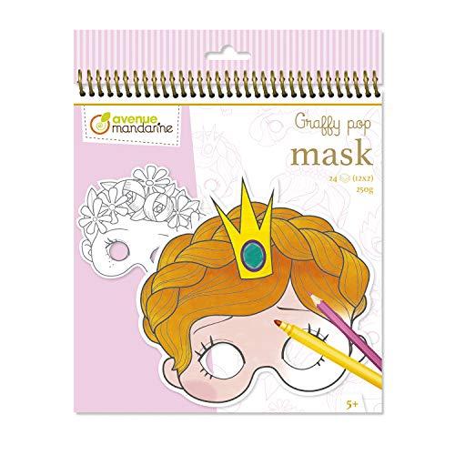 Avenue Mandarine GY021O - Un carnet à spirale Graffy pop mask comprenant 24 masques pré-découpés à colorier (12 designs x 2) 250g, Fille