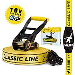 Gibbon Slacklines Classic Line, Yellow, 25 m, 22.5m ribbon + 2.5m ratechet band, beginner, beginner en beginner, inclusief ratelbescherming & ratel backlock, 50 mm brede, perfecte vrijetijdssport*