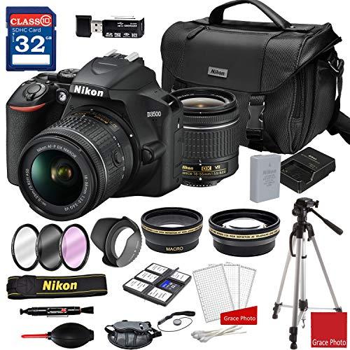 Nikon D3500 DSLR Camera with AF-P DX NIKKOR 18-55mm f/3.5-5.6G VR Lens + DSLR Camera Case + 32GB Memory Bundle (24pcs)