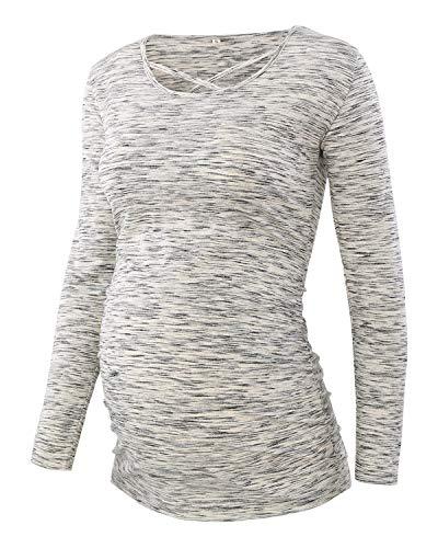 Love2Mi Damen Umstandsmode Tshirt Langarm Schöner Schwangerschafts Shirt-Grau-L