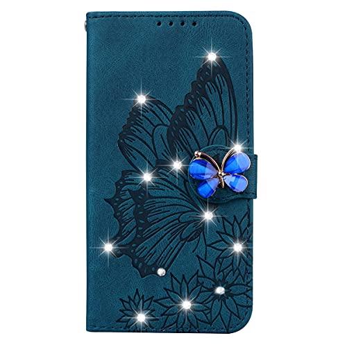 Blllue Funda de la cartera compatible con el iPhone 12 Pro, Glitter Bling Diamond Retro Butterfly PU Funda de cuero para iPhone 12 Pro 6.1 pulgadas - Azul