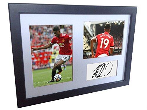 Ondertekend Marcus Rashford Manchester United gesigneerd foto gefotografeerd fotolijst A4