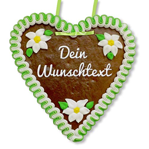 Individuelles Lebkuchenherz 21 x 22cm mit Wunschtext online Gestalten | Farbe: grün-weiß mit Edelweiß Zuckerdekoration | persönliches Geschenk wie vom Oktoberfest | LEBKUCHEN-WELT