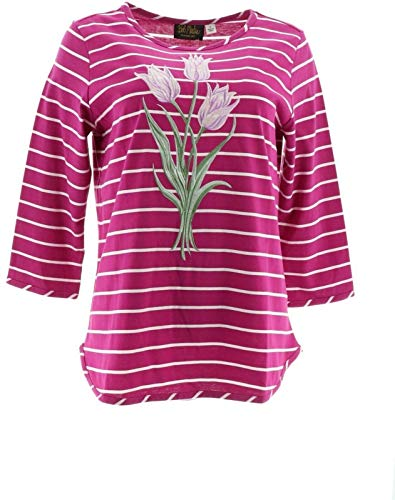Bob Mackie Floral Embroidered Striped Knit Top Fuchsia L New A273597