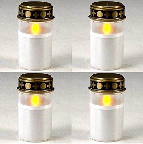 G&M 4X Stilvolles Grablicht Weiss LED Grabkerze LED Kerze Grabbeleuchtung
