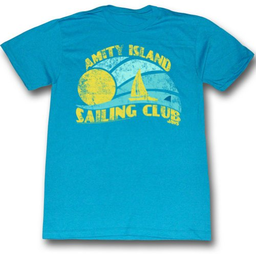 Official Mens Amity Island Sailing Club T-Shirt in Turquoise Heather - S to XXL