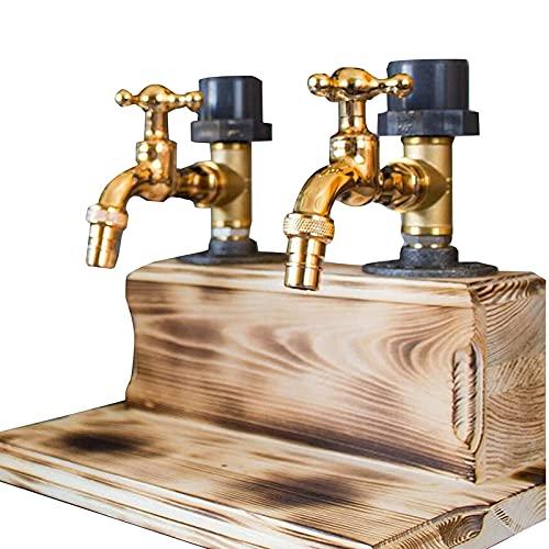 Dispensador de madera para whisky del día del padre, forma de grifo, estación de fiesta, bañera de bebidas con botellero, dispensador de licor giratorio de 3 botellas (Dos salidas)