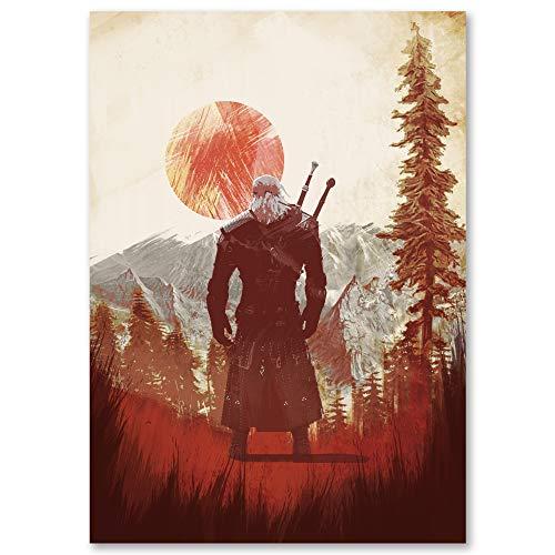 Iamloudness Witcher 3 Geralt RPG Gaming A3 Poster Impression numérique Illustration Cadeau d'anniversaire