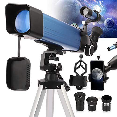 Telescopios Astronomicos Profesionales, 2021 Último telescopio refractor de tubo metálico con apertura de 60 mm Montura AZ de 500 mm Ideal para principiantes, trípode estable y vista HD
