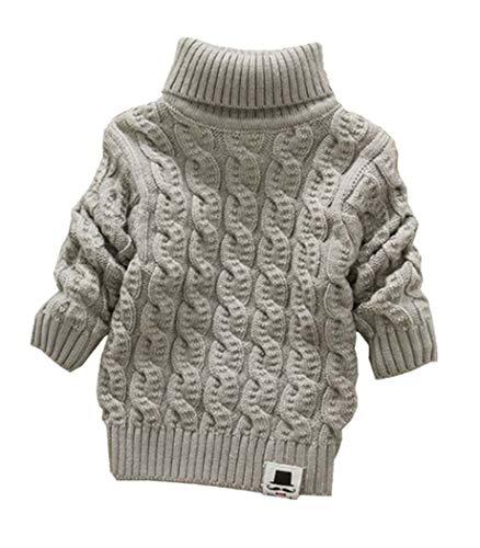 Nine Minow Boys Girls Turtleneck Sweaters Soft Warm Children's Sweater (1-2 Years, Grey)