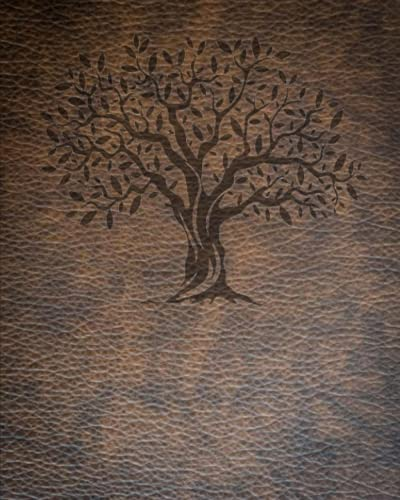 Writing Journal Notebook: 7.1 mm Spaced Dark Gray Lines With Border - Brown Weathered Leather Look With Old Tree Design
