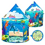 NONZERS Kids Play Tent, Pop Up Tent for Kids, Foldable Sea World Playhouse Tents with Storage Carry Bag, Bean Bags, Chesspiece for Children Outdoor and Indoor Games
