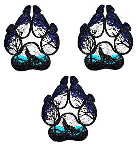 Umama Patch Set of 3 Lone Wolf Full Moon Howling Cartoon Applique Patch Wolf Fox Paws Foot Embroidered Iron On Patches Craft Decorative Repair Logo Fabric Jeans Jackets Shoes Caps Bags