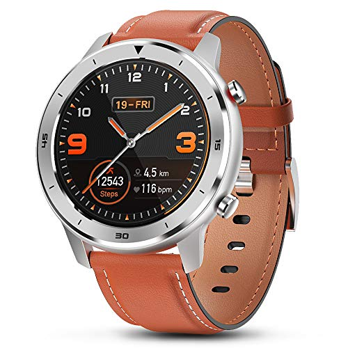 """Smart Watch, Popglory Smartwatch HR, Touchscreen 1.3"""" Fitness Tracker with Blood Pressure Monitor, IP68 Waterproof Fitness Watch, 30 Days Battery Life Compatible with Android Phones and iPhone"""