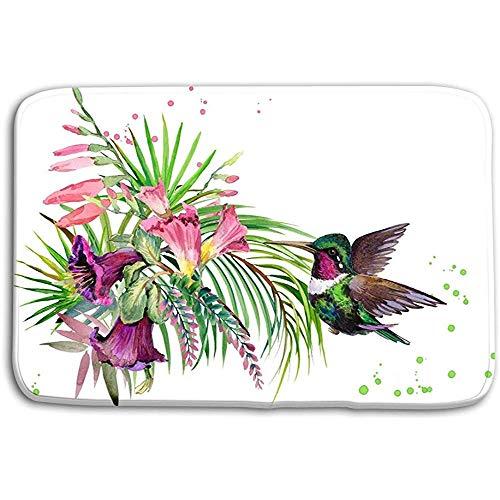 N/A Keuken Vloer Badmatten Jungle Plant Vogel Bloemen Kolibrie regen Bos Aquarel Tropische Natuur Exotische Bloemen Paradijs Vintage 50x80CM