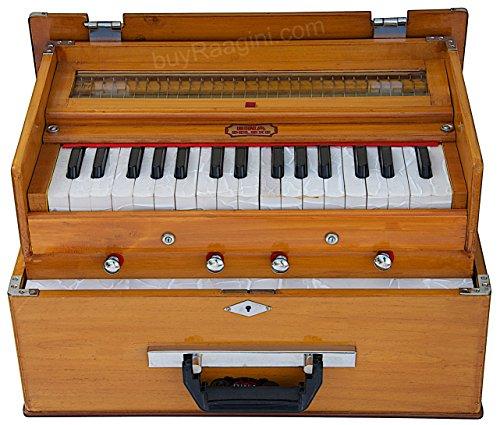 BINA 23B Deluxe, Harmonium, 2 1/2 Octaves, 32 Keys, Small, Portable, Compact, Special Reeds, Safri, Natural Color, Bag, Book, Kirtan, Musical Instrument Indian (PDI-411)