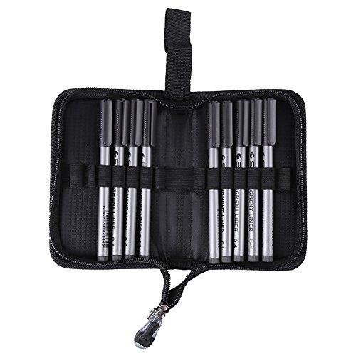 9Pz Nero Pigment Liner Impermeabile Micro-Penna di Linea della Pittura 0,05/0,1/0,2/0,3/0,4/0,5/0,6/0,8mm + Pennello con Portapenne Sacchetto della Penna