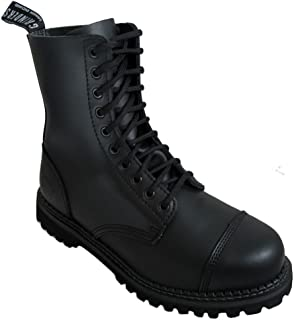 Grinders Mens Black Stag Combat 10 Hole Boots