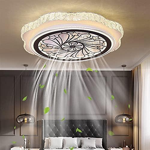Luz De Ventilador, Lámpara De Ventilador De Dormitorio Invisible Moderna, Ventilador De Techo Con Iluminación LED, Luz De Techo De Cristal Regulable Ultra Silencioso 64W